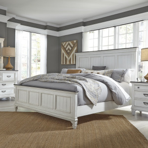 Allyson Park King Panel Bed, Dresser & Mirror, Night Stand