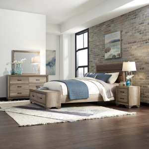 Sun Valley King Storage Bed, Dresser & Mirror, Night Stand