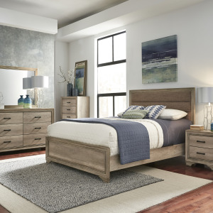 Sun Valley King Uph Bed, Dresser & Mirror, Chest, Night Stand
