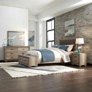 Sun Valley Queen Storage Bed, Dresser & Mirror, Night Stand