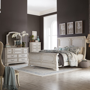 Abbey Road King California Sleigh Bed, Dresser & Mirror, Chest