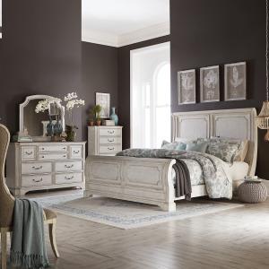 Abbey Road Queen Sleigh Bed, Dresser & Mirror, Chest