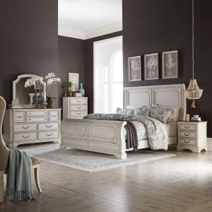 Abbey Road Queen Sleigh Bed, Dresser & Mirror, Chest, Night Stand