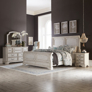 Abbey Road Queen Sleigh Bed, Dresser & Mirror, Night Stand