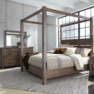 Sonoma Road Queen Canopy Bed, Dresser & Mirror