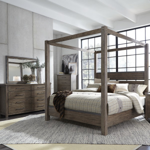 Sonoma Road Queen Canopy Bed, Dresser & Mirror, Chest