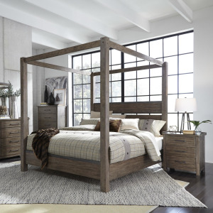 Sonoma Road Queen Canopy Bed, Dresser & Mirror, Night Stand