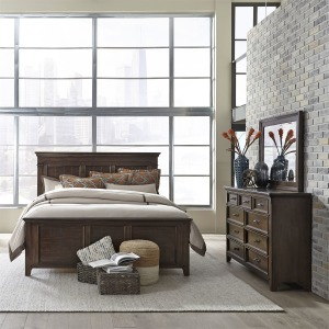 Saddlebrook King Panel Bed, Dresser & Mirror