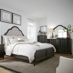 Chesapeake King Uph Bed, Dresser & Mirror, Chest