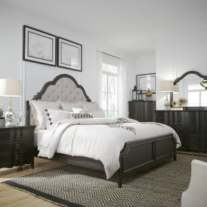 Chesapeake King Uph Bed, Dresser & Mirror, Chest, Night Stand