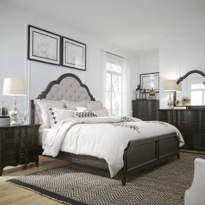 Chesapeake King Uph Bed, Dresser & Mirror, Night Stand