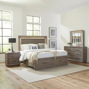 Horizons King Storage Bed, Dresser & Mirror, Night Stand