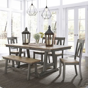 Lindsey Farm 6 Piece Trestle Table Set