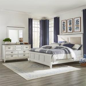 Allyson Park King California Upholstered Bed, Dresser & Mirror
