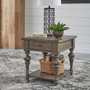 Americana Farmhouse Drawer End Table