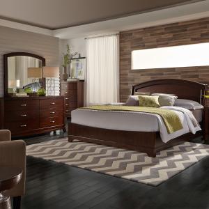 Avalon King Panel Bed, Dresser & Mirror, Chest