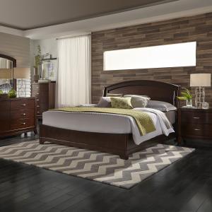 Avalon King Panel Bed, Dresser & Mirror, Night Stand
