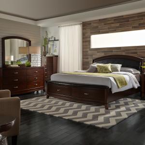 Avalon King Storage Bed, Dresser & Mirror