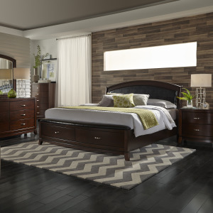 Avalon King Storage Bed, Dresser & Mirror, Chest, Night Stand