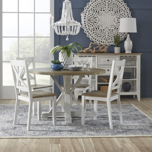 5 Piece Round Table Set- White