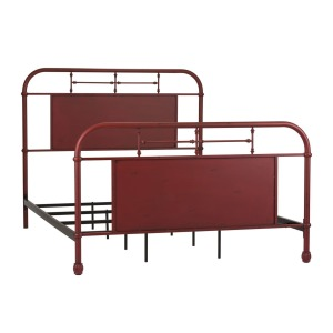 Vintage Series Queen Metal Bed - Red