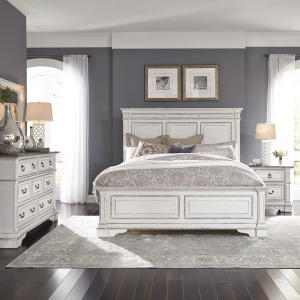 Abbey Park King California Panel Bed, Dresser & Mirror, Night Stand