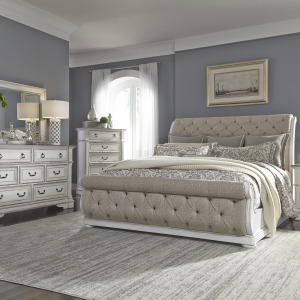 Abbey Park King California Sleigh Bed, Dresser & Mirror, Chest