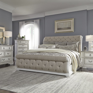 Abbey Park King Uph Sleigh Bed, Dresser & Mirror, Chest, Night Stand