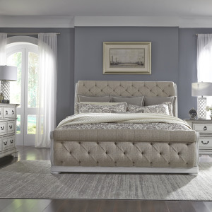 Abbey Park King Uph Sleigh Bed, Dresser & Mirror, Night Stand