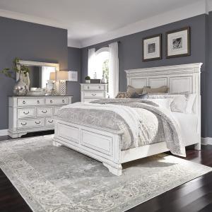 Abbey Park Queen Panel Bed, Dresser & Mirror, Chest