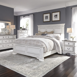 Abbey Park Queen Panel Bed, Dresser & Mirror, Chest, Night Stand