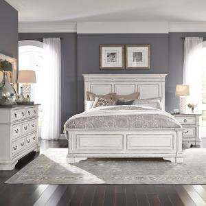 Abbey Park Queen Panel Bed, Dresser & Mirror, Night Stand