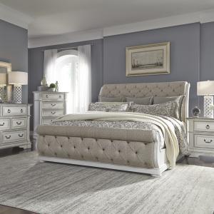 Abbey Park Queen Uph Sleigh Bed, Dresser & Mirror, Chest, Night Stand