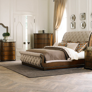 Cotswold King California Sleigh Bed, Dresser & Mirror, Night Stand