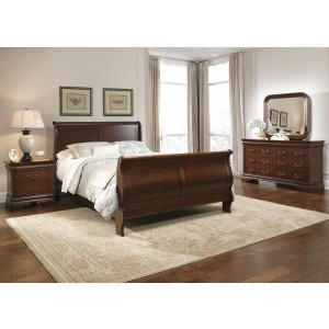 Carriage Court Queen Sleigh Bed, Dresser & Mirror, Night Stand