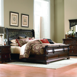Arbor Place King Sleigh Bed, Dresser & Mirror, Chest, Night Stand