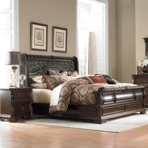 Arbor Place King California Sleigh Bed, Dresser & Mirror, Night Stand
