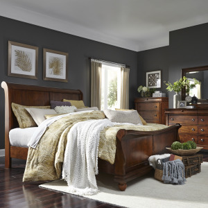 Rustic Traditions King California Sleigh Bed, Dresser & Mirror, Chest