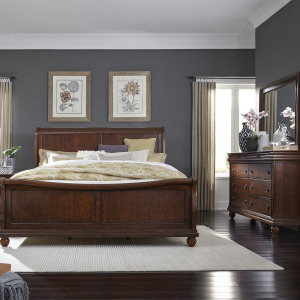 Rustic Traditions King Sleigh Bed, Dresser & Mirror