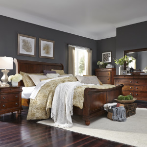 Rustic Traditions King Sleigh Bed, Dresser & Mirror, Chest, Night Stand