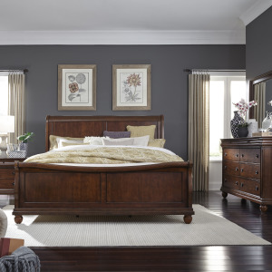 Rustic Traditions King Sleigh Bed, Dresser & Mirror, Night Stand