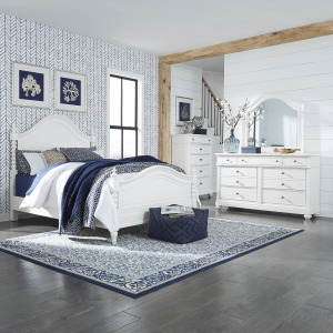 Harbor View II King Poster Bed, Dresser & Mirror, Chest