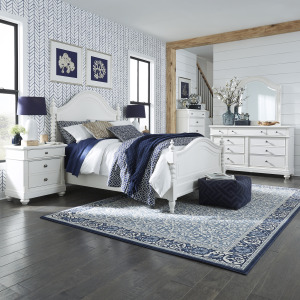 Harbor View II King Poster Bed, Dresser & Mirror, Chest, Night Stand
