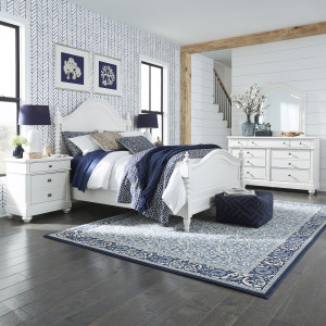 Harbor View II King Poster Bed, Dresser & Mirror, Night Stand