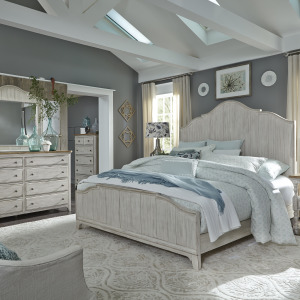 Farmhouse Reimagined King California Panel Bed, Dresser & Mirror, Chest