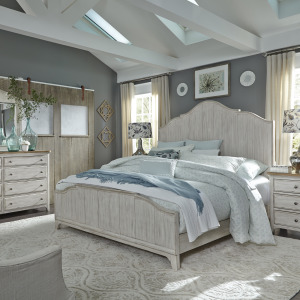 Farmhouse Reimagined King California Panel Bed, Dresser & Mirror, Night Stand