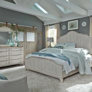 Farmhouse Reimagined King Panel Bed, Dresser & Mirror