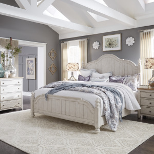 Farmhouse Reimagined King Poster Bed, Dresser & Mirror, Night Stand