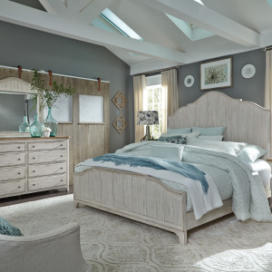 Farmhouse Reimagined Queen Panel Bed, Dresser & Mirror