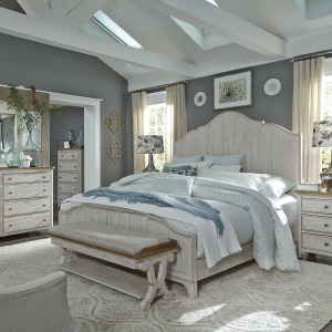Farmhouse Reimagined Queen Panel Bed, Dresser & Mirror, Chest, Night Stand